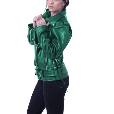 Elegant Green Brando Genuine Leather Jacket