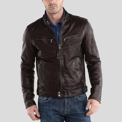 Beau Brown Biker Leather Jacket
