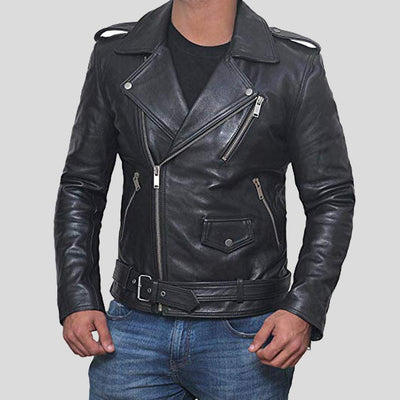 Alec Black Biker Leather Jacket