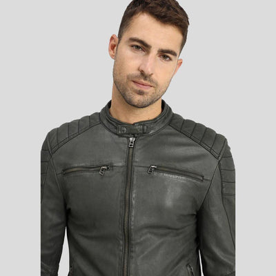 Buck Grey Biker Leather Jacket