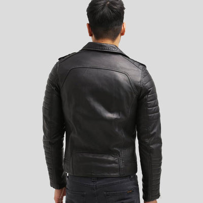 Cain Black Biker Leather Jacket