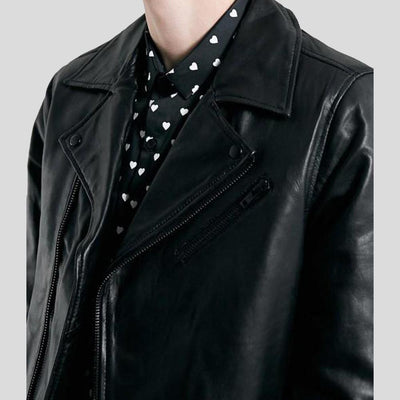Caleb Black Biker Leather Jacket