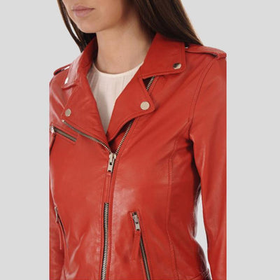 Callie Red Biker Leather Jacket