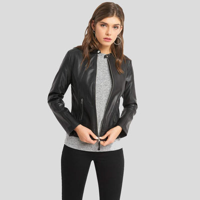 Cora Black Biker Leather Jacket