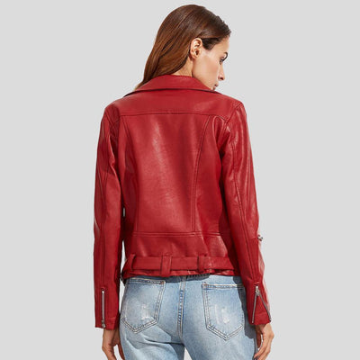 Diana Red Biker Leather Jacket