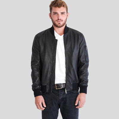 Clark Black Bomber Leather Jacket