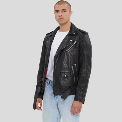Adiv Black Motorcycle Leather Jacket
