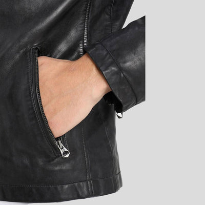 Dion Black Motorcycle Leather Jacket