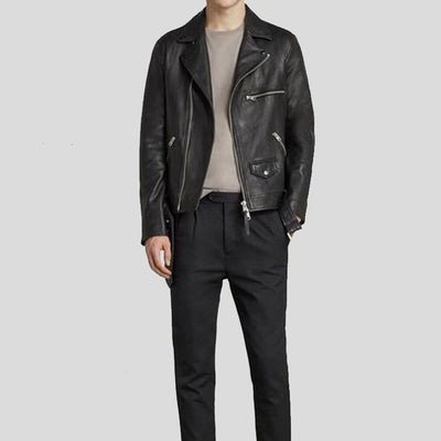 Connor Black Motorcycle Leather Jacket
