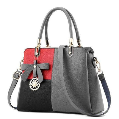 Three Color Combo Faux-Leather Tote Shoulder Bag