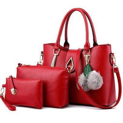 Women Faux-Leather Set of Beautifully Crafted Tote Sling Satchel Handbags