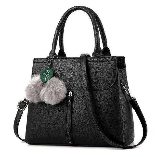 Women Tote Messenger Cross-Body Faux-Leather Bag with Fur and Leaf Shaped Tassels
