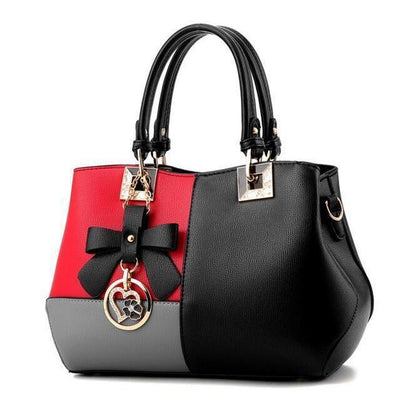 Tri Color Combination Faux-Leather Tote Handbag with Gorgeous Heart Tassel