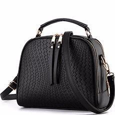 Women Faux-Leather Tote Messenger Handbag with Belt Buckle Lock and Tassel