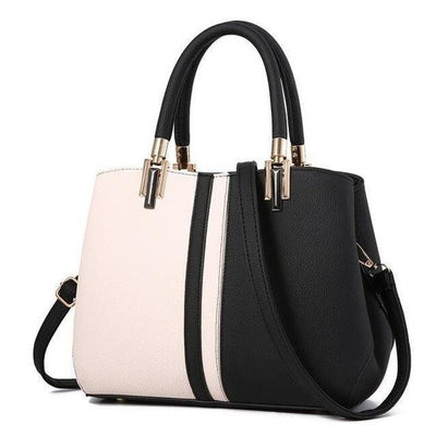 Women Tote Messenger Faux-Leather Handbag with Dual Colour and Retro Style