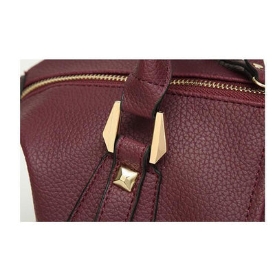Women Tote Faux-Leather Boston Shoulder Bag with Buckle Design