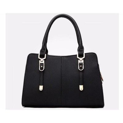 Women Tote Messenger Faux-Leather Handbag with Golden Embellishments