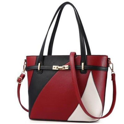 Women Asymmetrical Style Tri Color Synthetic Patchwork Handbag