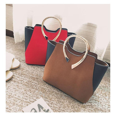 Women Tote Faux-Leather Handbag with Golden Metal Grab Handles