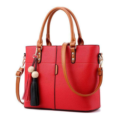 Women High Quality Faux-Leather Bag with Brown Grab Handles and Black-Red Tassels