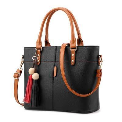 Women Tote Messenger Crossbody Synthetic Faux-Leather Handbag with Red-Black Tassels