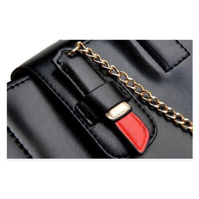 Women Casual Black Faux-Leather Handbag with Lipstick Kiss Pattern and Pendant