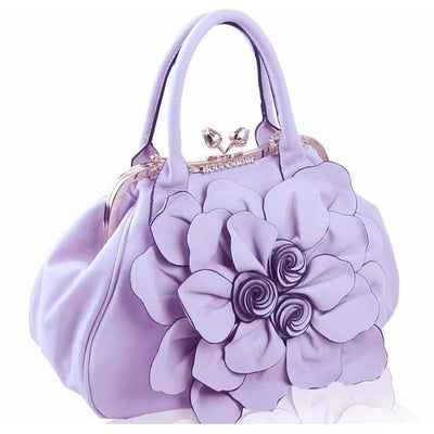 Women Tote Faux-Leather Handbag with Floral Design