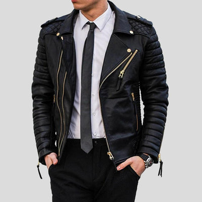 Byron Black Quilted Leather Jacket