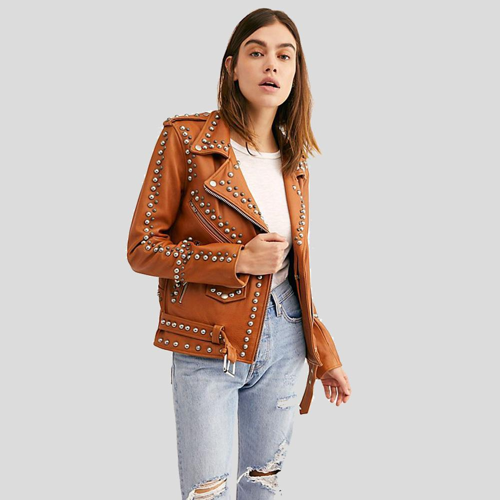 Avail Tan Studded Leather Jacket