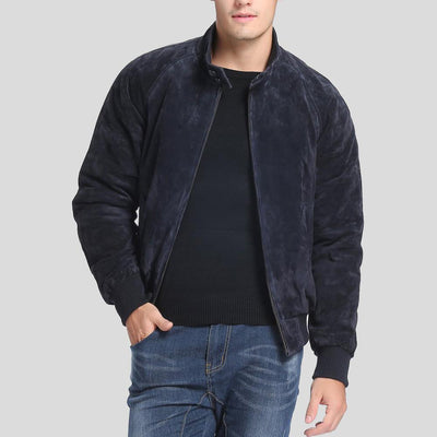 Admiral Navy Suede Bomber Leather Jacket