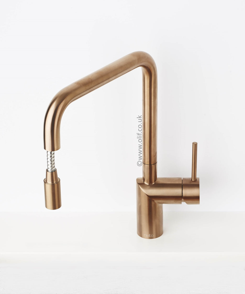 Nivito RH-350-EX Brushed Copper, pull-out kitchen mixer tap