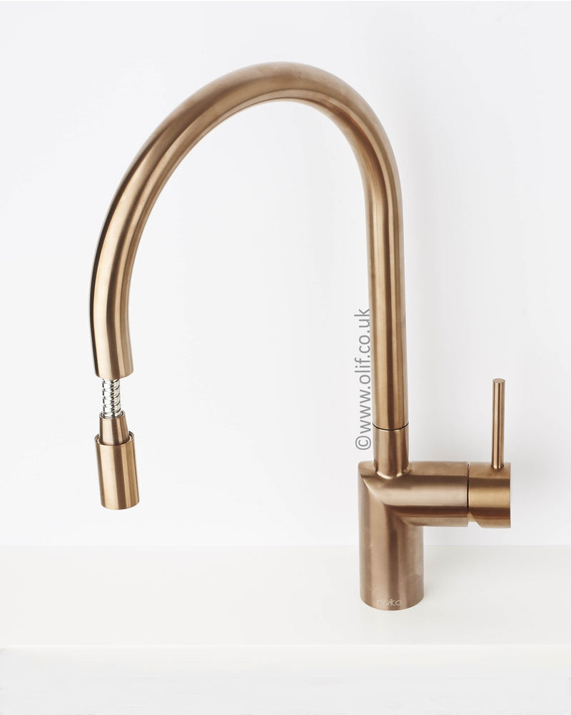 Nivito RH-150-EX Brushed Copper, pull-out kitchen mixer tap
