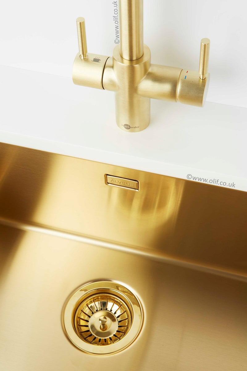 InSinkErator 3n1 Steaming Hot Water tap Gold, with tank and filter