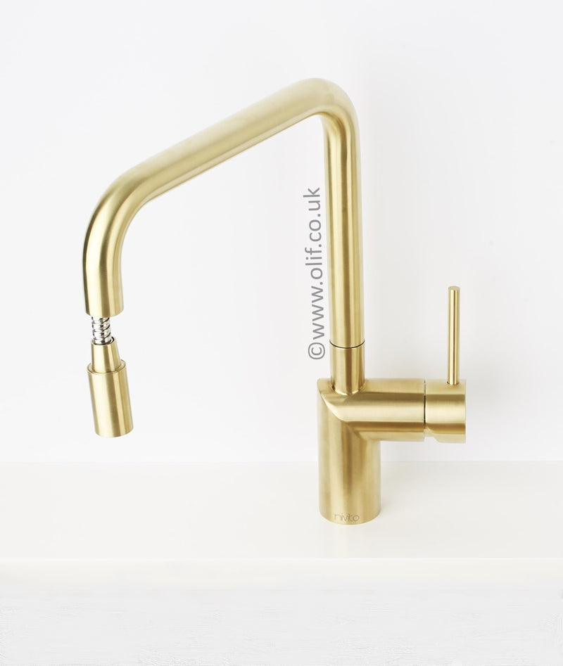 Nivito RH 340 EX Brushed Brass/Gold, pull-out kitchen mixer tap