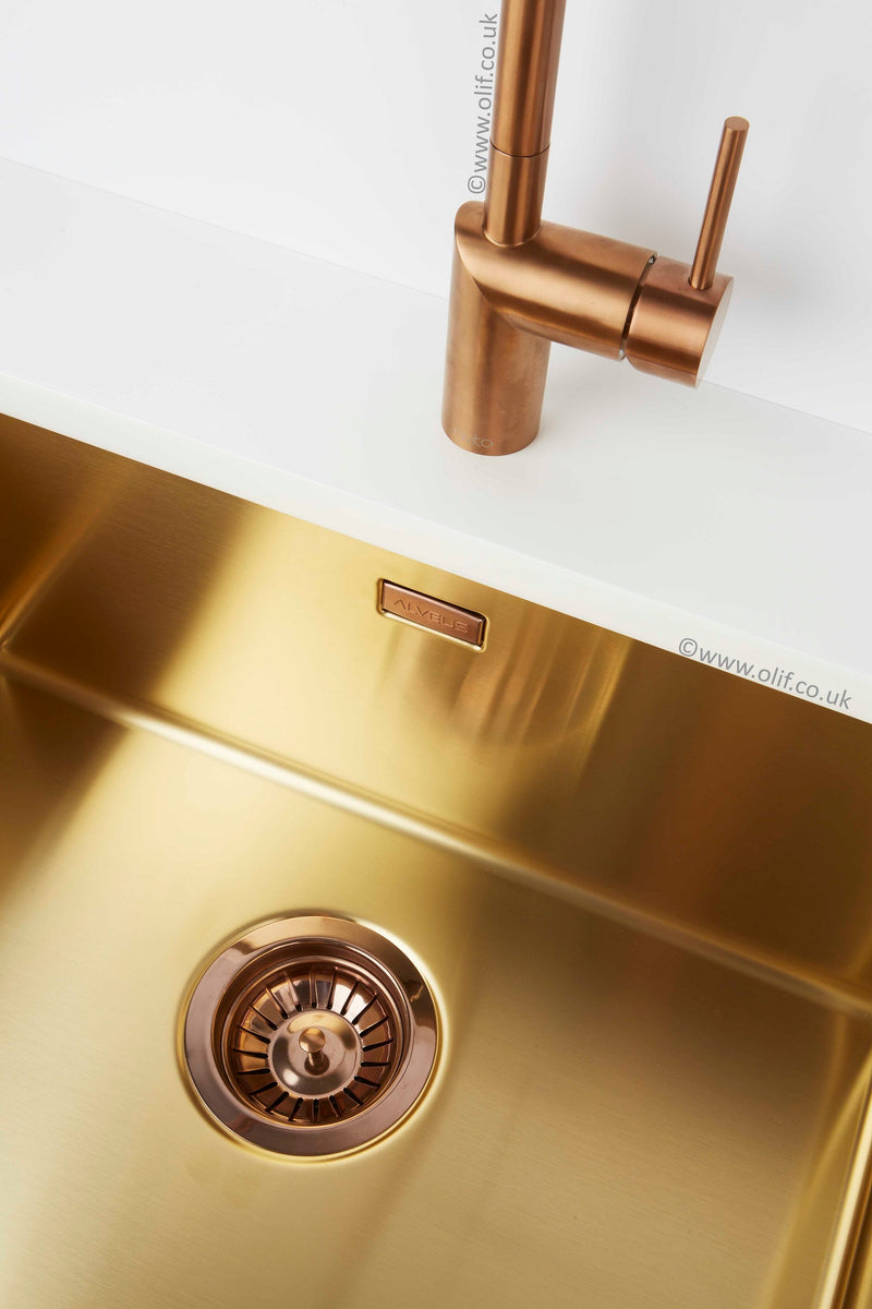 Alveus Monarch Quadrix 50 Gold, flush/slim/undermount sink