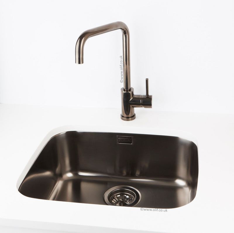 Pack of Alveus Monarch Variant 40 Anthracite sink and matching Anthracite tap