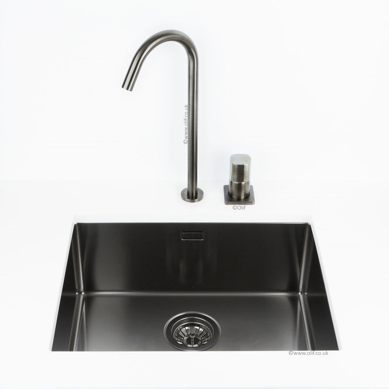Assoluto Brushed Anthracite kitchen tap with Colour Stone Mixer Handle