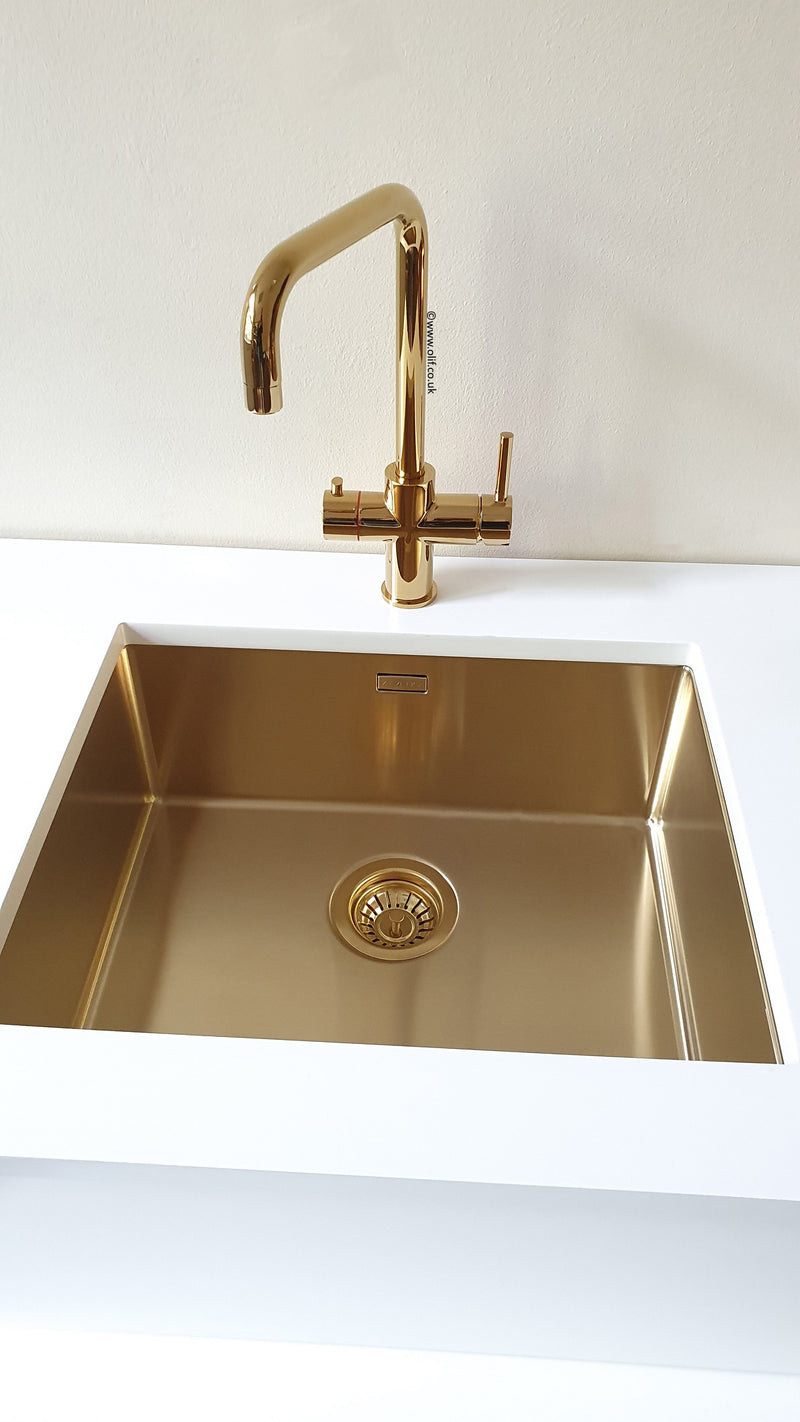 Olif Triniti 3n1 Instant Hot Water tap Gold, with boiler and filter