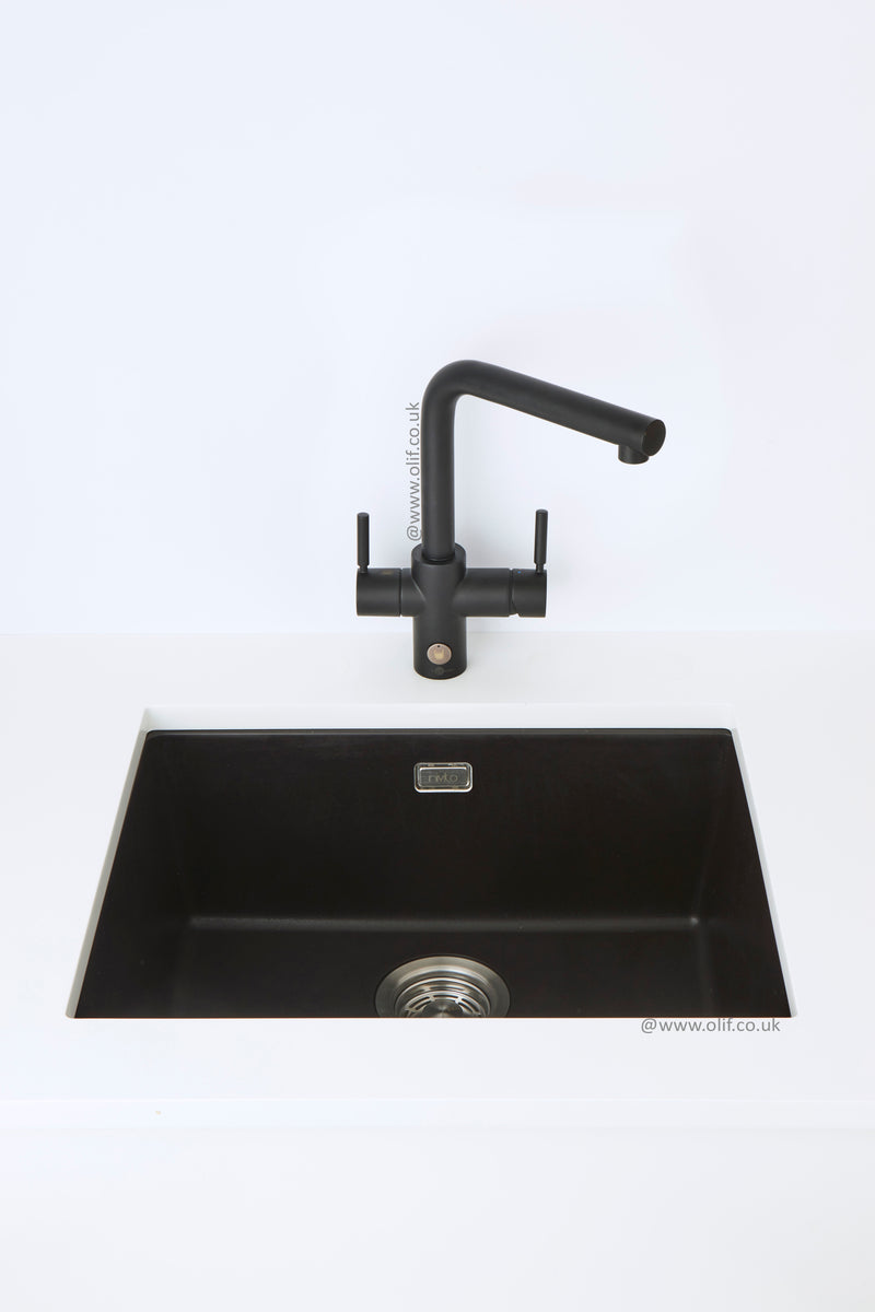 Pack of InSinkErator 4n1 Touch L tap & Nivito sink, Black Velvet finish