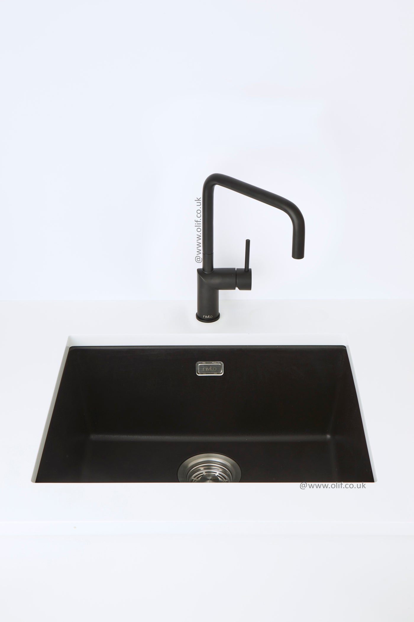 Pure Black Granite Kitchen Sink Under Or Top Mount Nivito Cubegranit 500 Black Olif