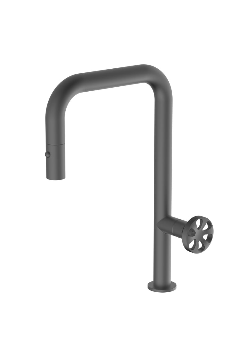 Capo Anthracite, pull-down kitchen mixer tap with 2 jet shower