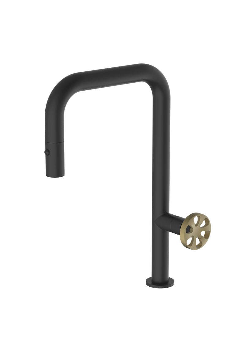 Capo Matte Black Mix & Match, pull down kitchen mixer tap