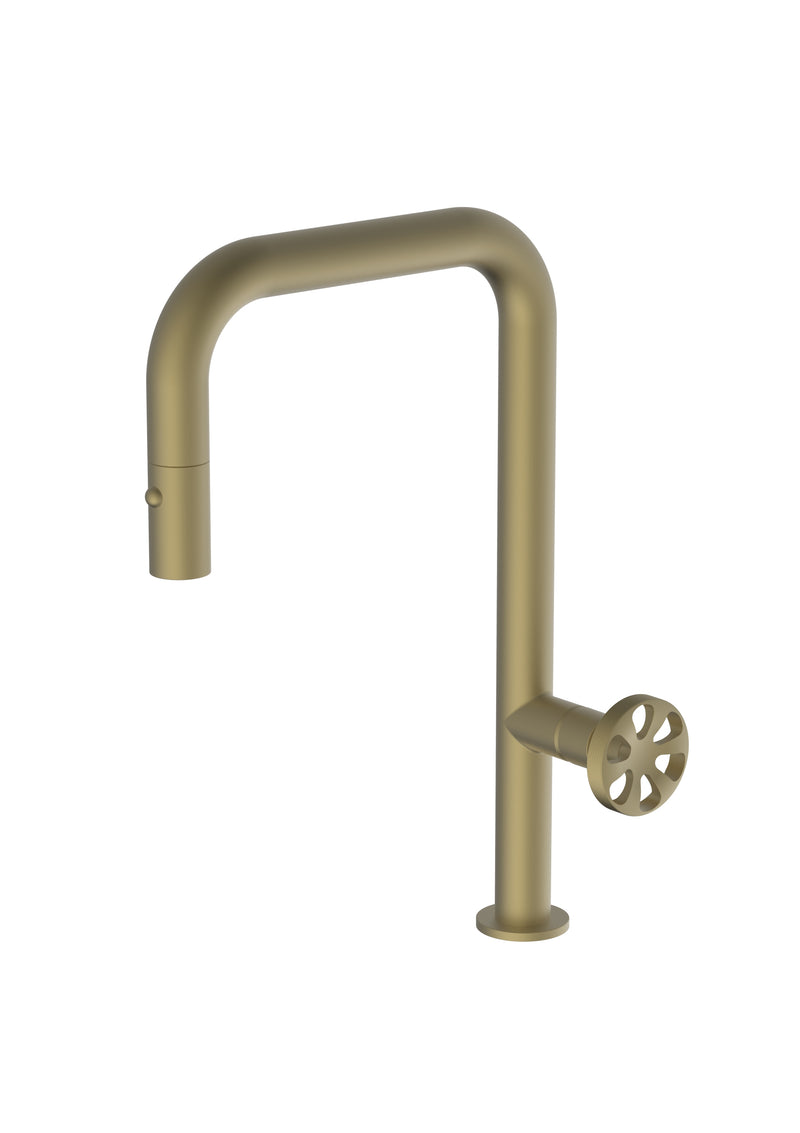 Capo Brass/Gold, pull-down kitchen mixer tap