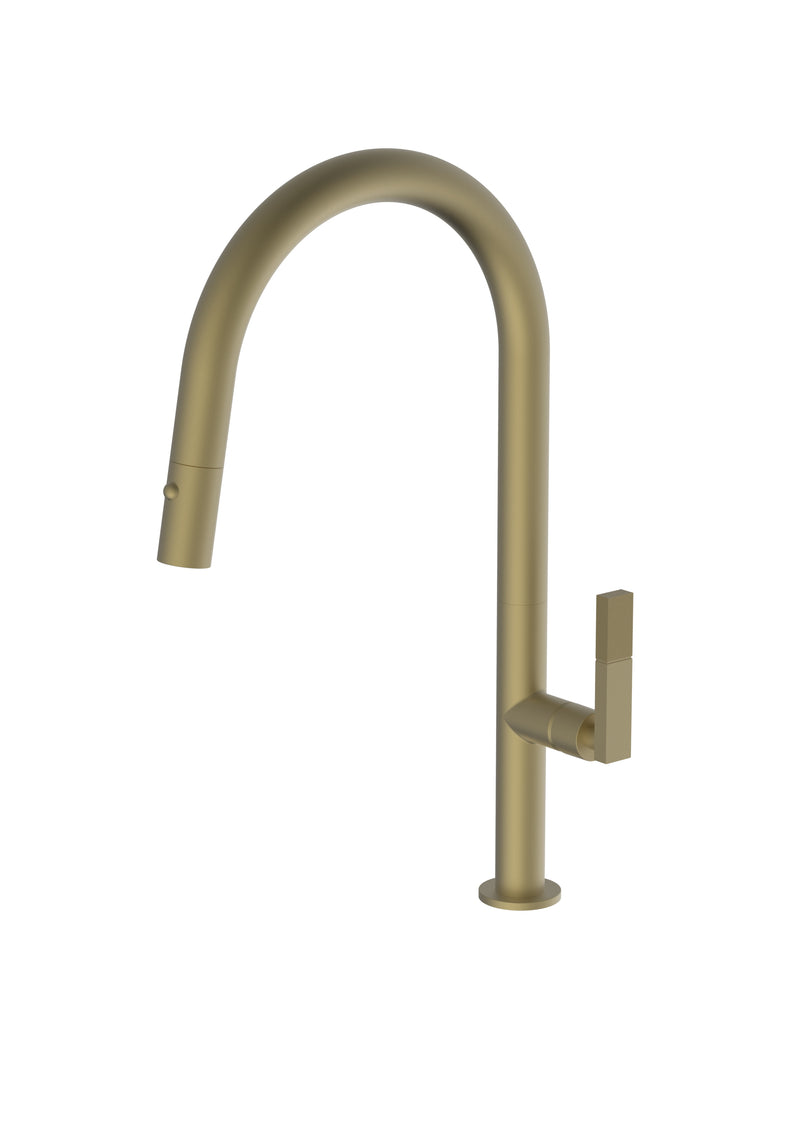 Divino Brass/Gold, pull-down kitchen tap, with spray