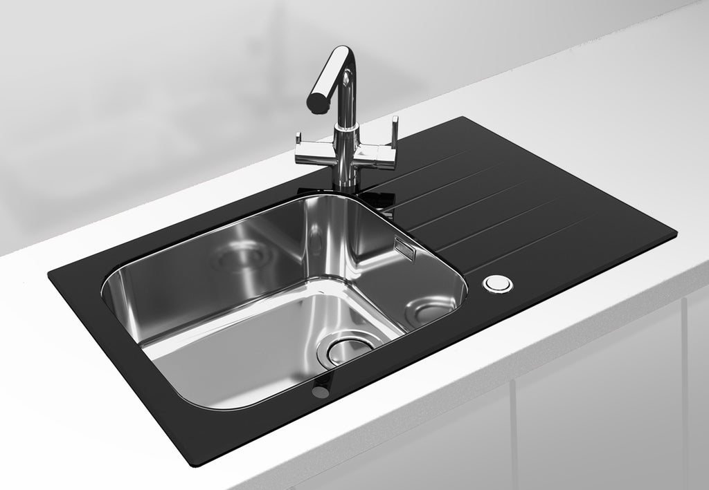 Alveus Glassix Up 40, inset sink, glass/ stainless steel