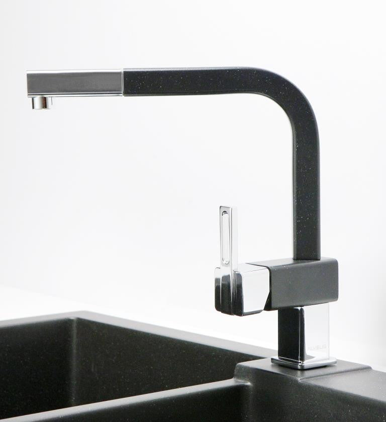 Black Kitchen Taps Only: Kitchen Mixer Tap, Black, White Colour, Pull Out