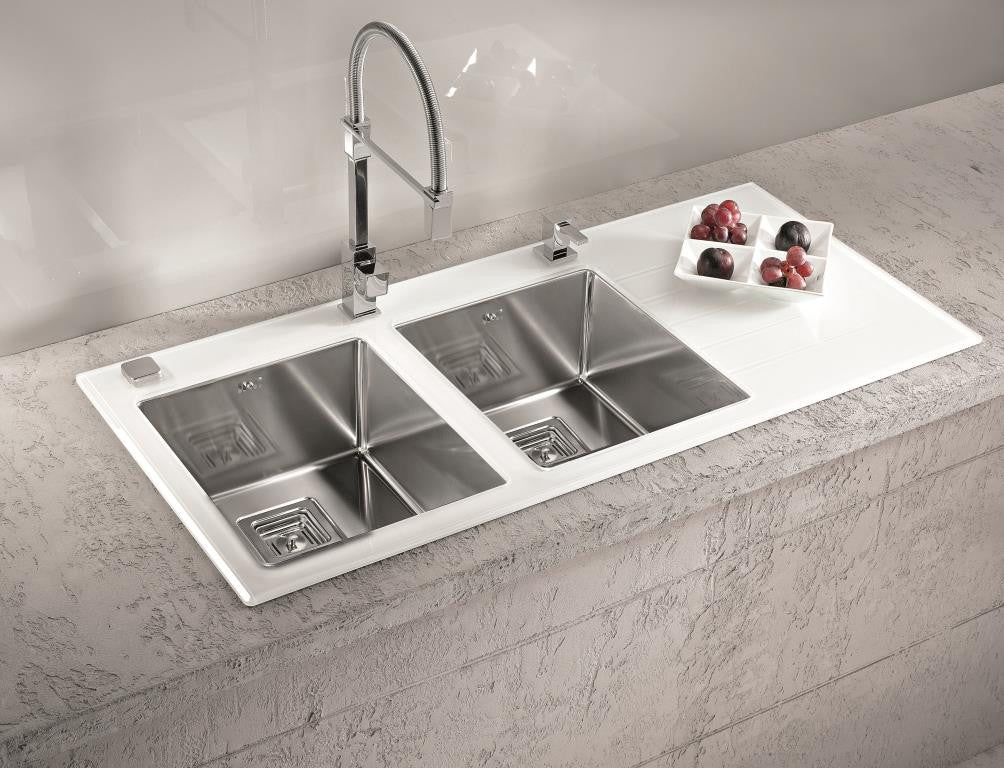 Alveus Crystalix 20 Inset Sink Glass Stainless Steel Olif