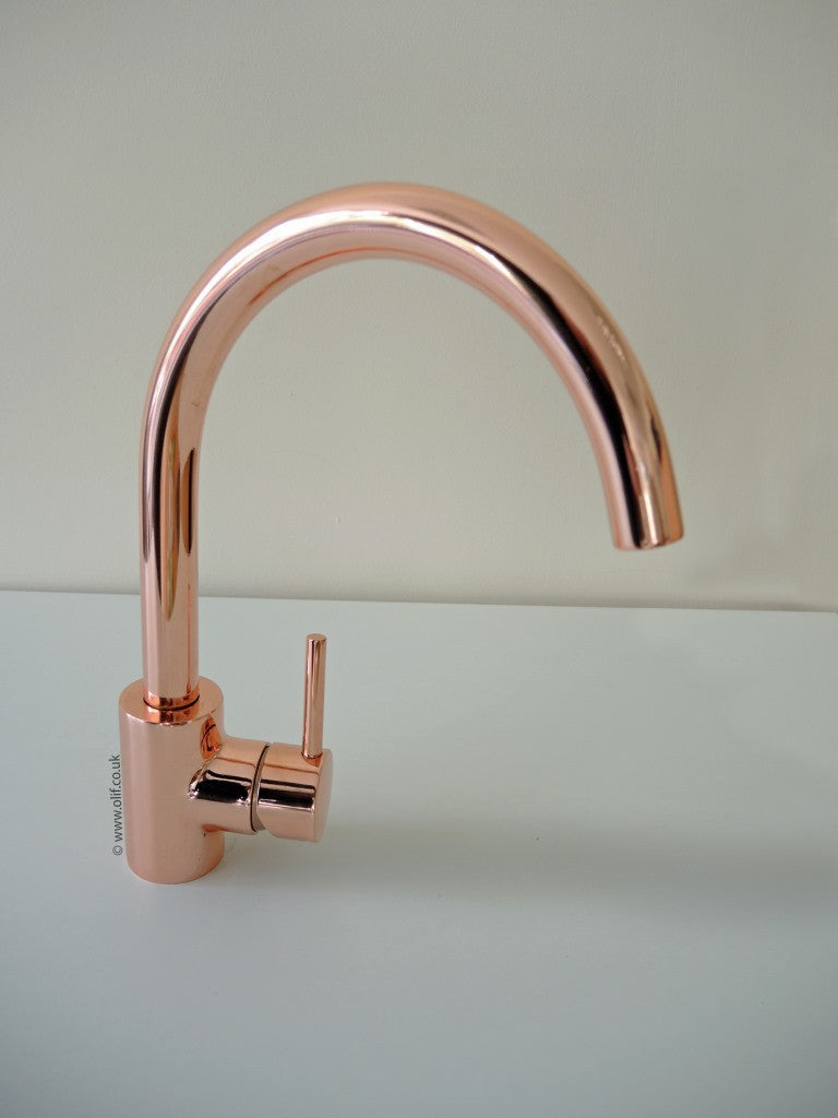 Rose Gold Contemporary Kitchen Mixer Tap Uk Cascata By Olif
