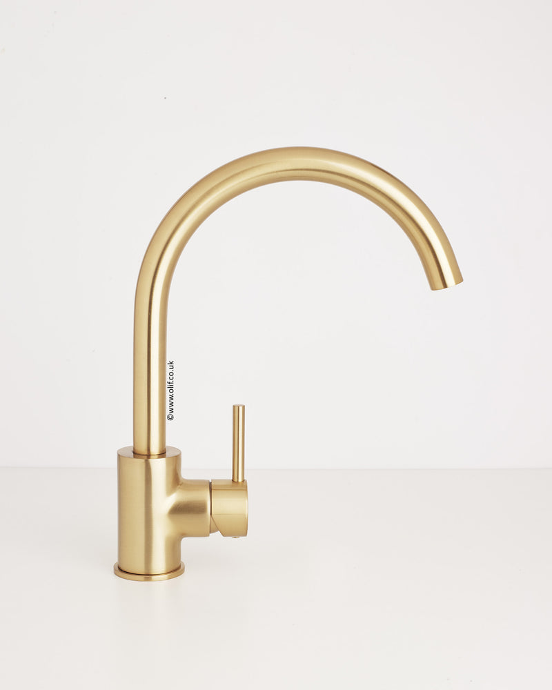 Brushed Bronze Contemporary Kitchen Mixer Tap, UK | Cascata by Olif