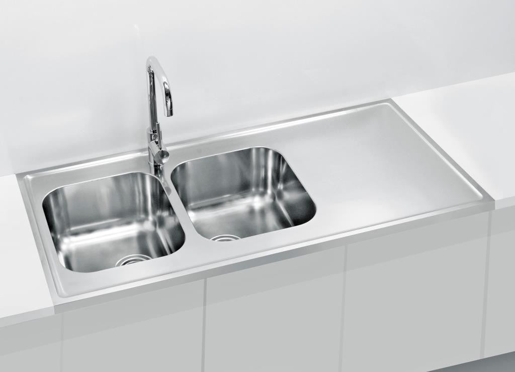 1200mm Lay-on, Sit-on Kitchen Sink, deep double bowls - Alveus ...